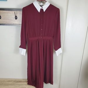Burgundy Zara Long Sleeve 1940's Stlye Dress XS